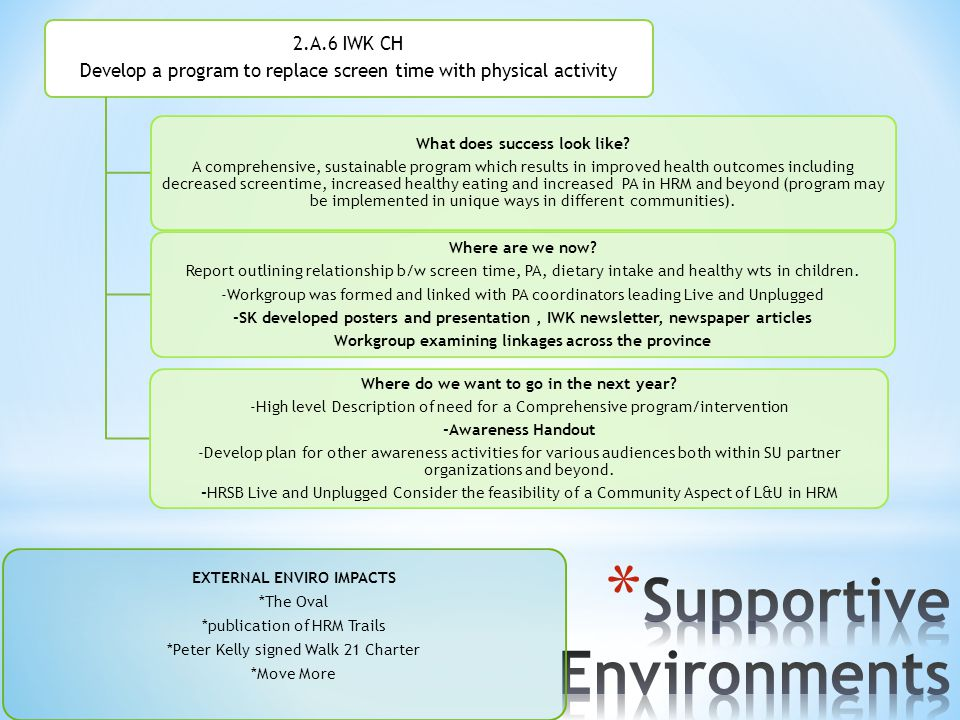 2.A.6 IWK CH Develop a program to replace screen time with physical activity What does success look like? A comprehensive, sustainable program which r