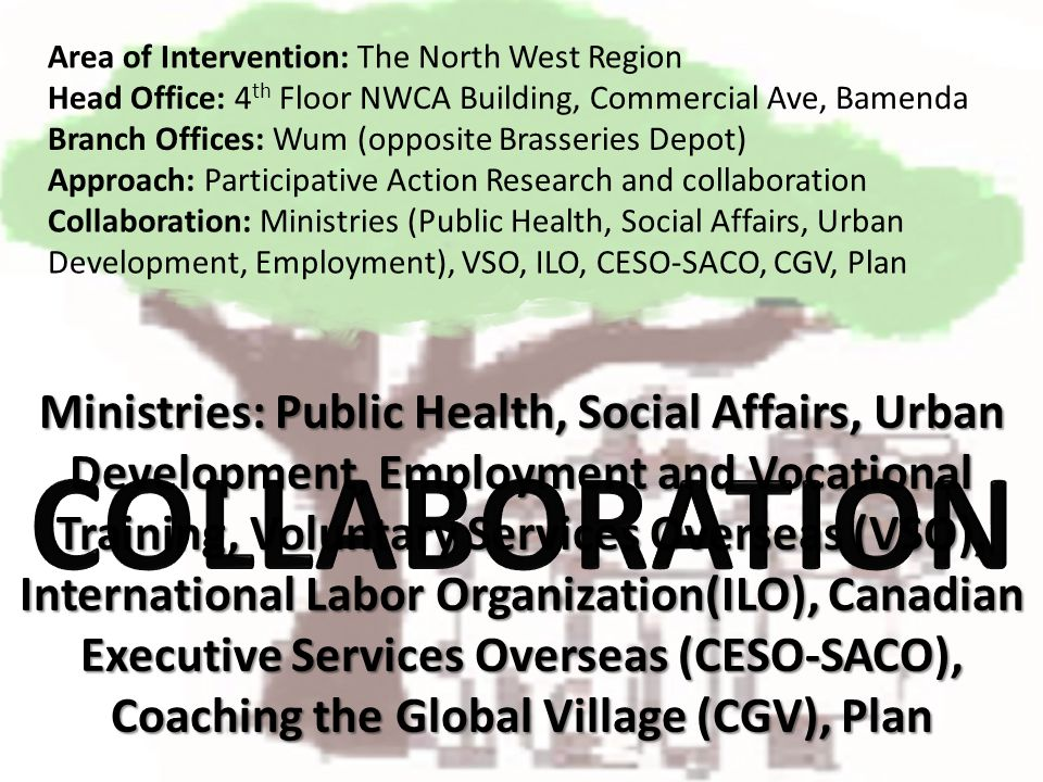 Ministries: Public Health, Social Affairs, Urban Development, Employment and Vocational Training, Voluntary Services Overseas (VSO), International Lab