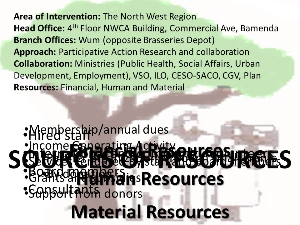 Human Resources Area of Intervention: The North West Region Branch Offices: Wum (opposite Brasseries Depot) Head Office: 4 th Floor NWCA Building, Com