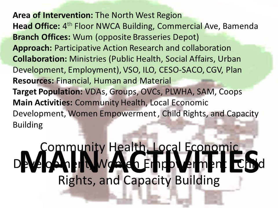 Community Health, Local Economic Development, Women Empowerment, Child Rights, and Capacity Building Area of Intervention: The North West Region Branc