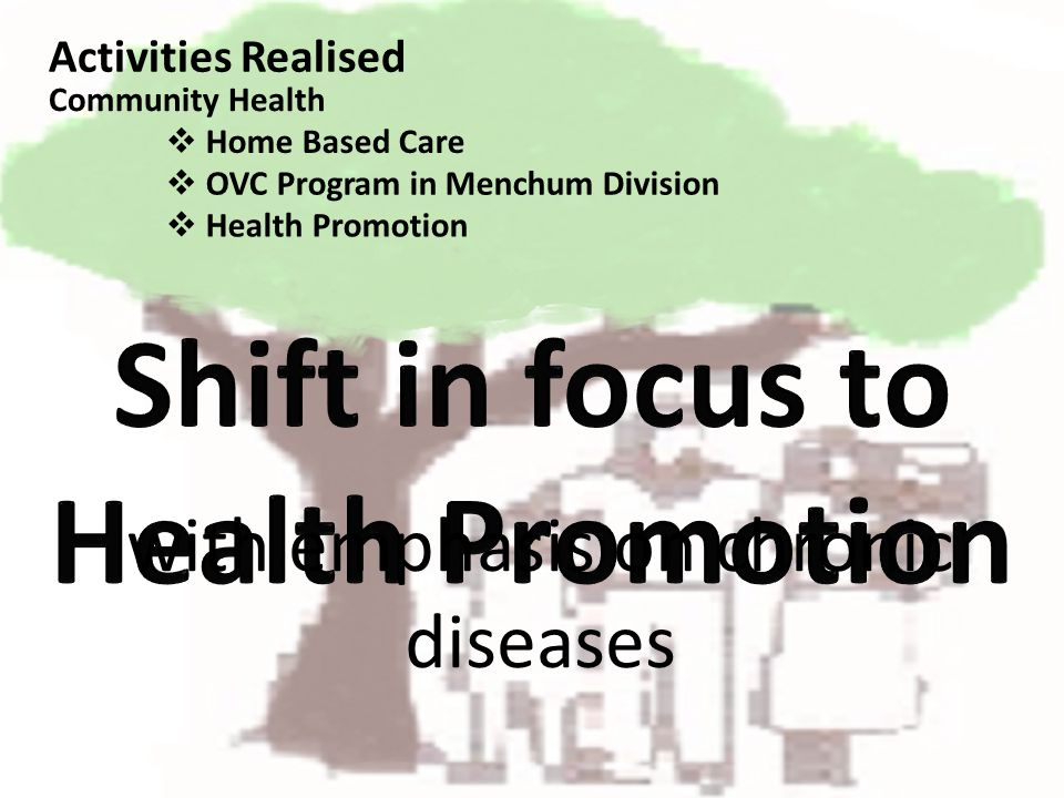 with emphasis on chronic diseases Activities Realised Home Based Care Community Health OVC Program in Menchum Division Health Promotion