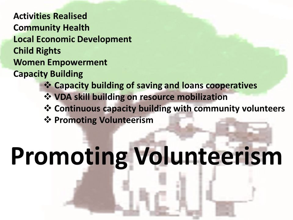 Activities Realised Capacity building of saving and loans cooperatives Community Health Local Economic Development Child Rights Women Empowerment Capacity Building VDA skill building on resource mobilization Continuous capacity building with community volunteers Promoting Volunteerism