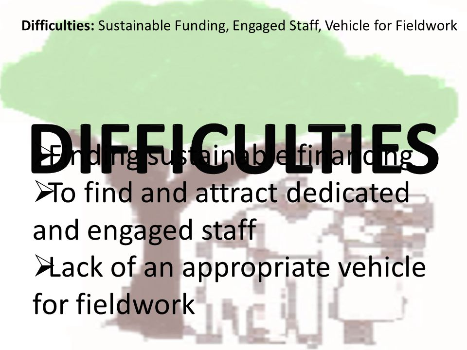 Finding sustainable financing To find and attract dedicated and engaged staff Lack of an appropriate vehicle for fieldwork Difficulties: Sustainable Funding, Engaged Staff, Vehicle for Fieldwork