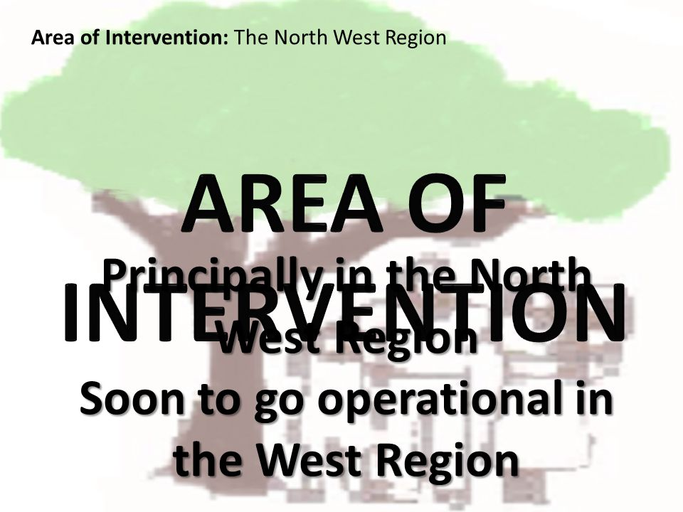 Principally in the North West Region Soon to go operational in the West Region Area of Intervention: The North West Region
