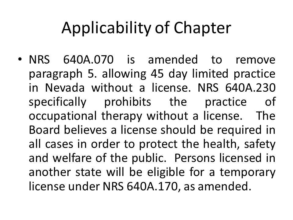 Applicability of Chapter NRS 640A.070 is amended to remove paragraph 5.