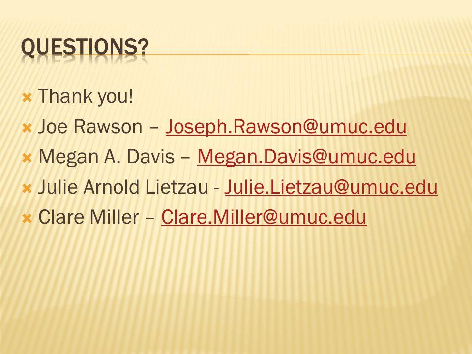 Thank you! Joe Rawson – Joseph.Rawson@umuc.eduJoseph.Rawson@umuc.edu Megan A. Davis – Megan.Davis@umuc.eduMegan.Davis@umuc.edu Julie Arnold Lietzau -