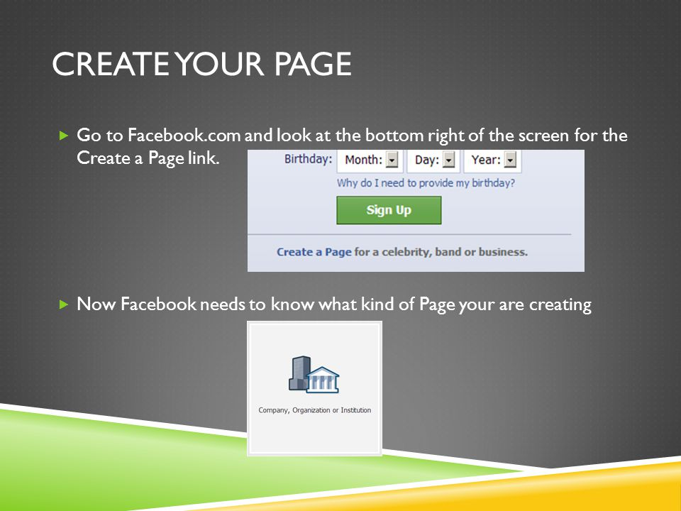 Go to Facebook.com and look at the bottom right of the screen for the Create a Page link.