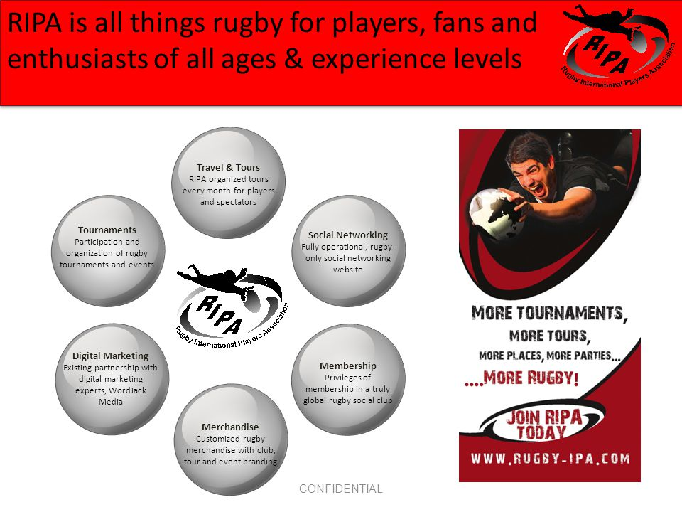 CONFIDENTIAL RIPA is all things rugby for players, fans and enthusiasts of all ages & experience levels Digital Marketing Existing partnership with digital marketing experts, WordJack Media Tournaments Participation and organization of rugby tournaments and events Travel & Tours RIPA organized tours every month for players and spectators Social Networking Fully operational, rugby- only social networking website Membership Privileges of membership in a truly global rugby social club Merchandise Customized rugby merchandise with club, tour and event branding
