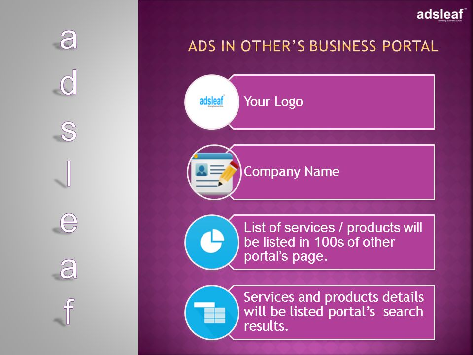 Your Logo Company Name List of services / products will be listed in 100s of other portals page.