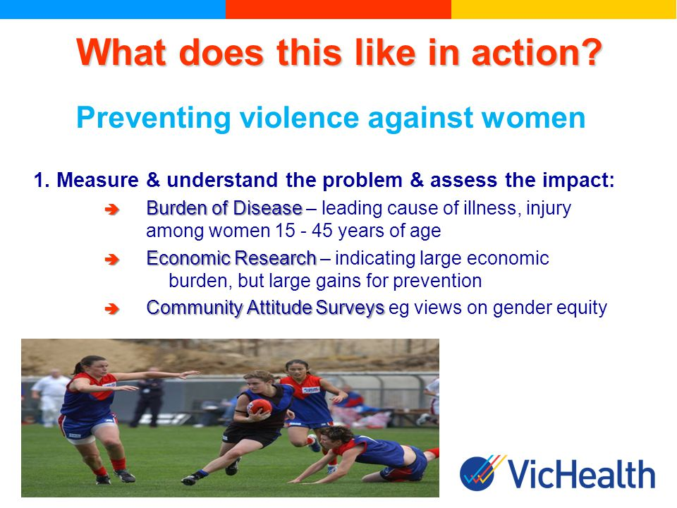What does this like in action. Preventing violence against women 1.