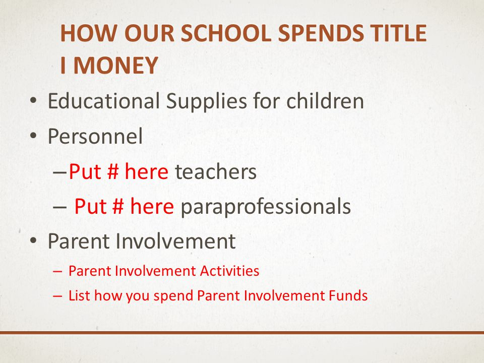 HOW OUR SCHOOL SPENDS TITLE I MONEY Educational Supplies for children Personnel – Put # here teachers – Put # here paraprofessionals Parent Involvemen