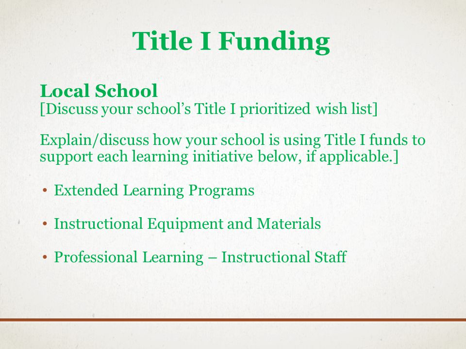 Title I Funding Local School [Discuss your schools Title I prioritized wish list] Explain/discuss how your school is using Title I funds to support ea