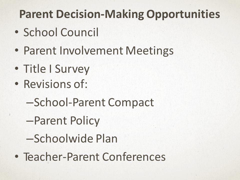 Parent Decision-Making Opportunities School Council Parent Involvement Meetings Title I Survey Revisions of: – School-Parent Compact – Parent Policy – Schoolwide Plan Teacher-Parent Conferences