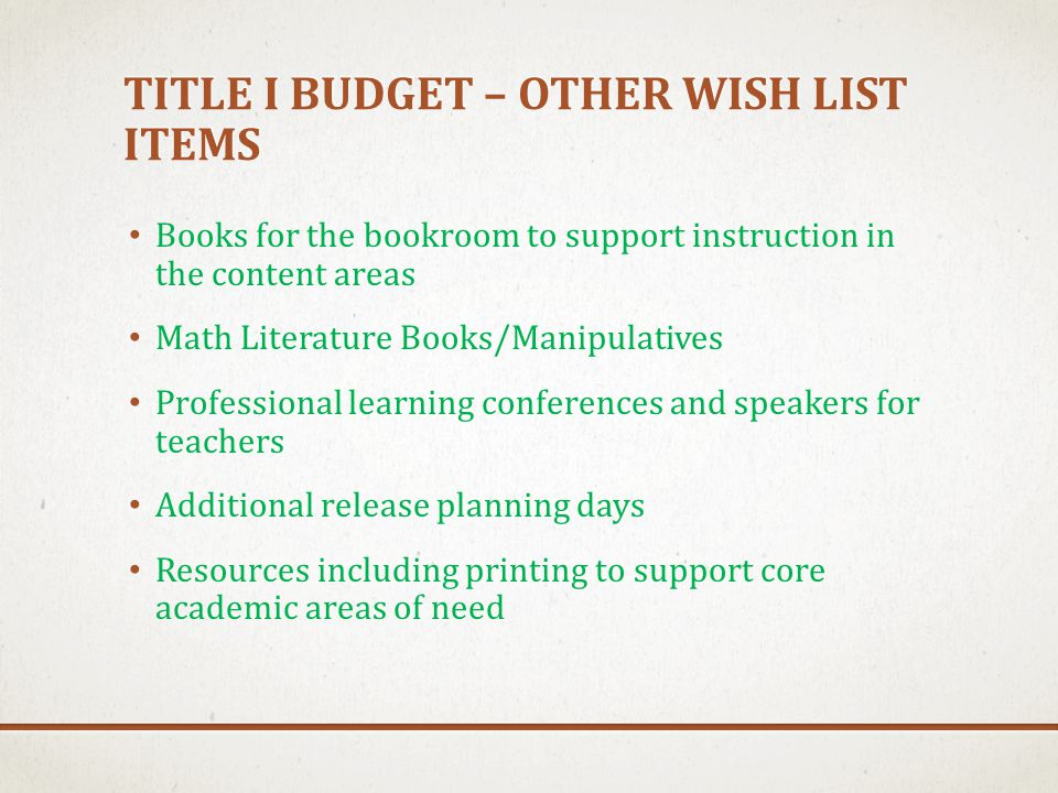 TITLE I BUDGET – OTHER WISH LIST ITEMS Books for the bookroom to support instruction in the content areas Math Literature Books/Manipulatives Professi
