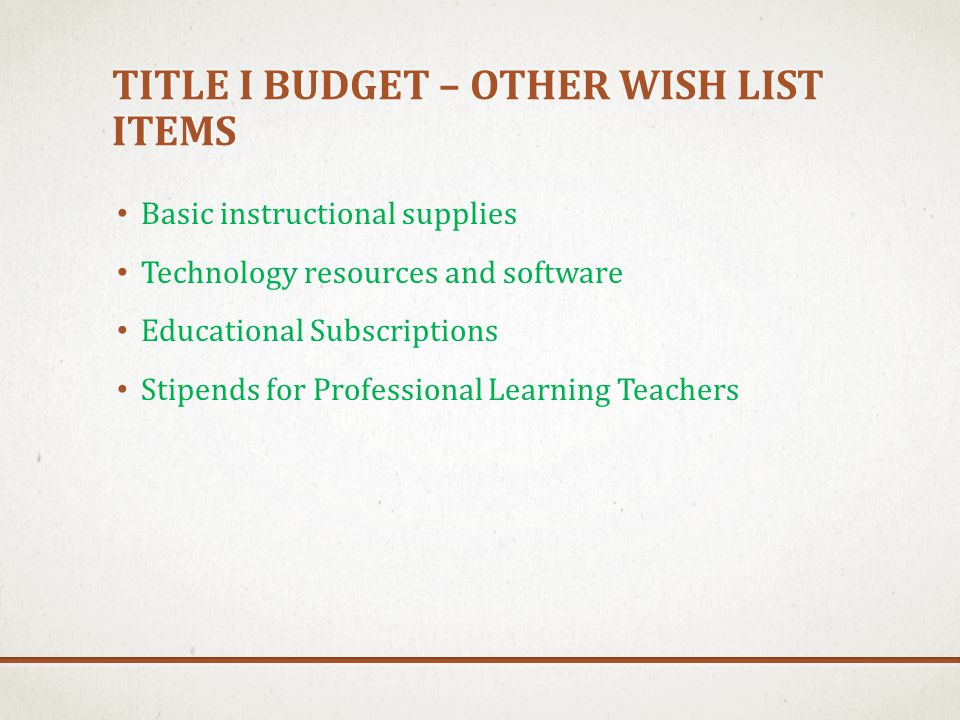 TITLE I BUDGET – OTHER WISH LIST ITEMS Basic instructional supplies Technology resources and software Educational Subscriptions Stipends for Professio