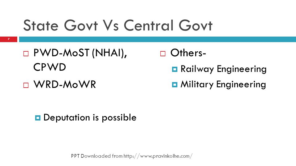 State Govt Vs Central Govt PWD-MoST (NHAI), CPWD WRD-MoWR Deputation is possible Others- Railway Engineering Military Engineering 7 PPT Downloaded fro