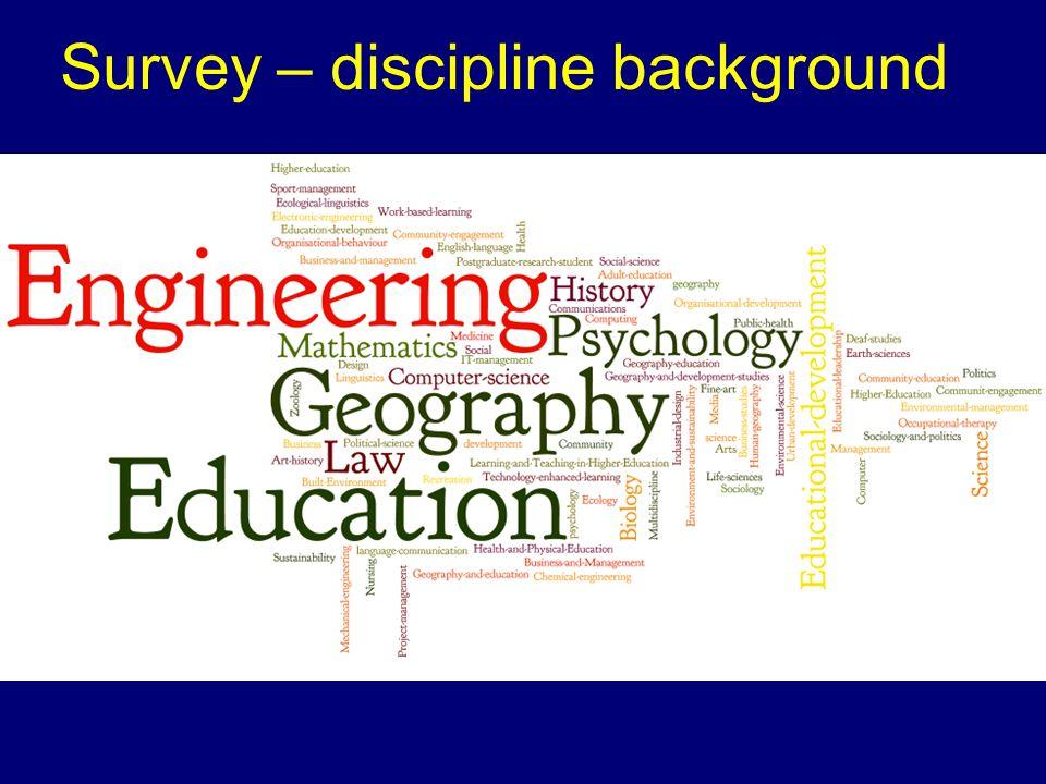 Survey – discipline background