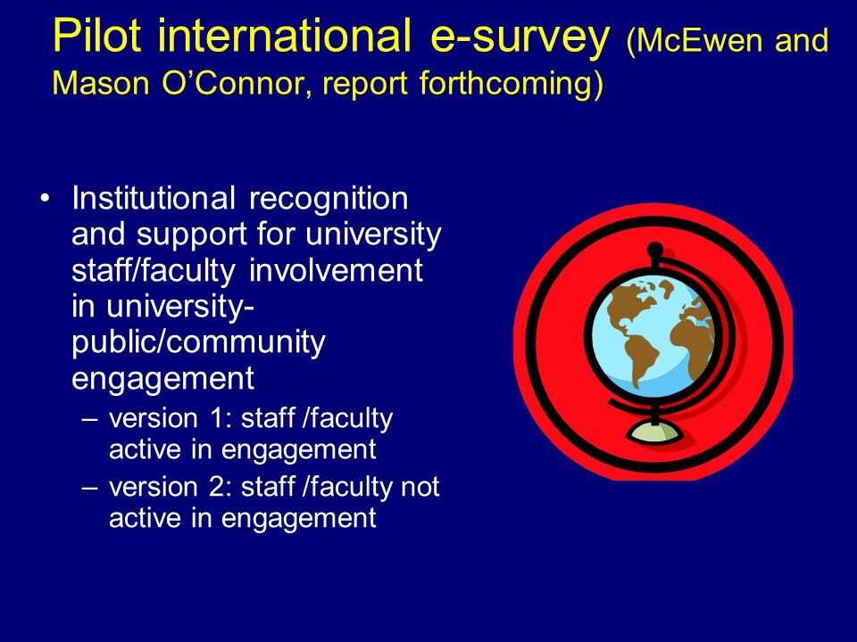Pilot international e-survey (McEwen and Mason OConnor, report forthcoming) Institutional recognition and support for university staff/faculty involvement in university- public/community engagement –version 1: staff /faculty active in engagement –version 2: staff /faculty not active in engagement