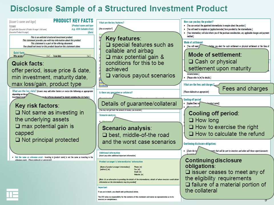 9 Disclosure Sample of a Structured Investment Product Key risk factors: Not same as investing in the underlying assets max potential gain is capped N