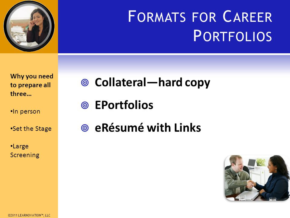 ©2011 LEARNOVATION, LLC F ORMATS FOR C AREER P ORTFOLIOS Collateralhard copy EPortfolios eRésumé with Links Why you need to prepare all three… In person Set the Stage Large Screening