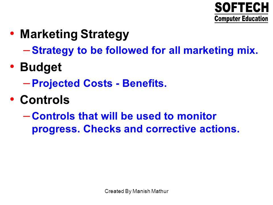 Marketing Strategy – Strategy to be followed for all marketing mix. Budget – Projected Costs - Benefits. Controls – Controls that will be used to moni