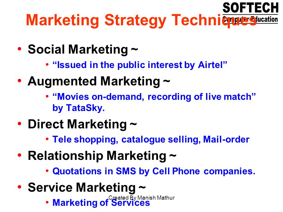 Marketing Strategy Techniques Social Marketing ~ Issued in the public interest by Airtel Augmented Marketing ~ Movies on-demand, recording of live mat