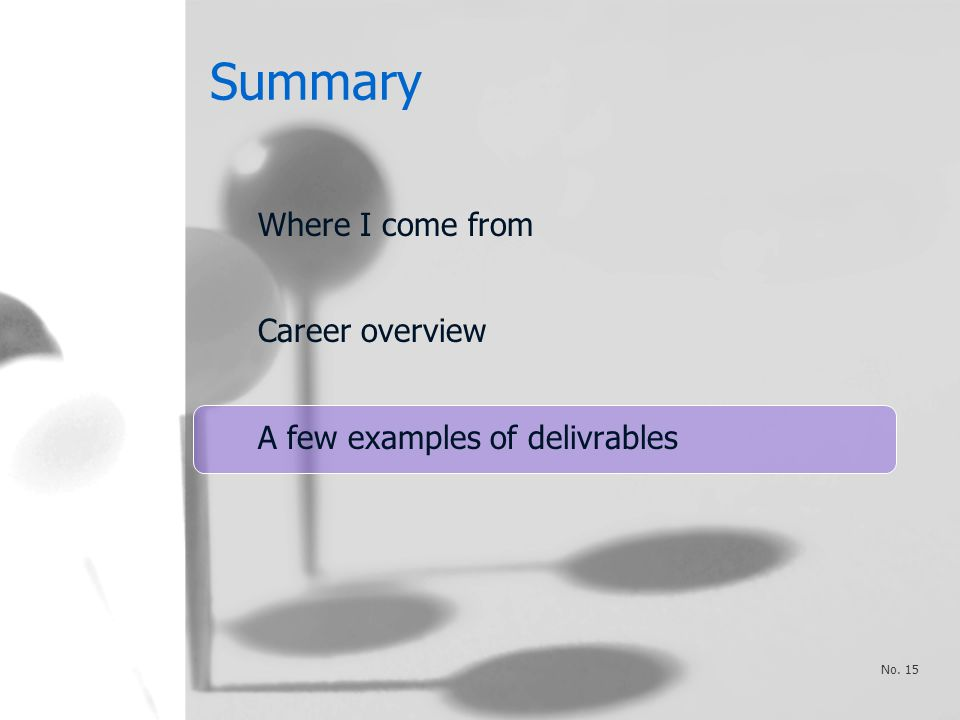 Summary Where I come from Career overview A few examples of delivrables No. 15