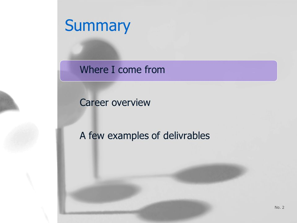Summary Where I come from Career overview A few examples of delivrables No. 2
