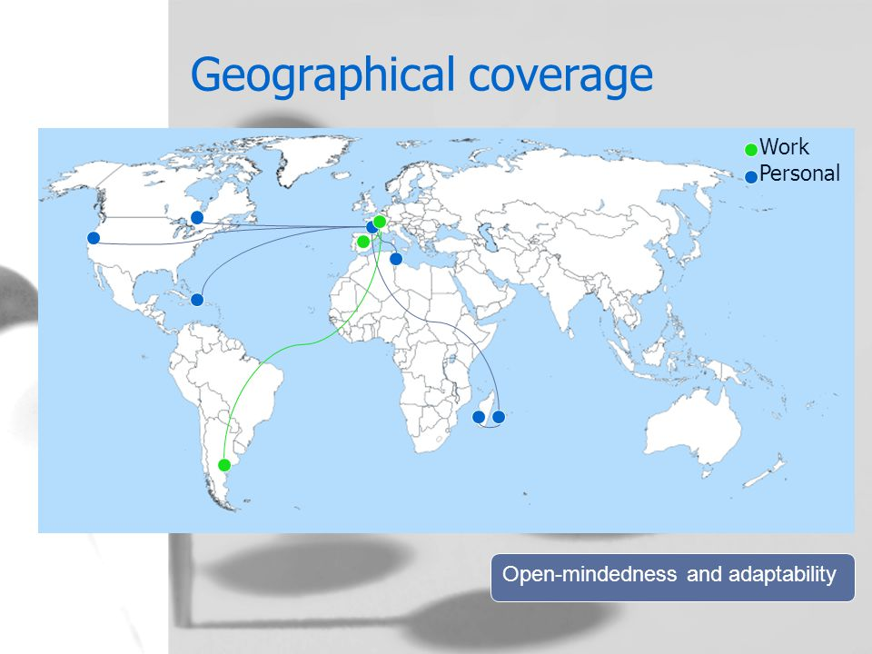 Geographical coverage Work Personal Open-mindedness and adaptability