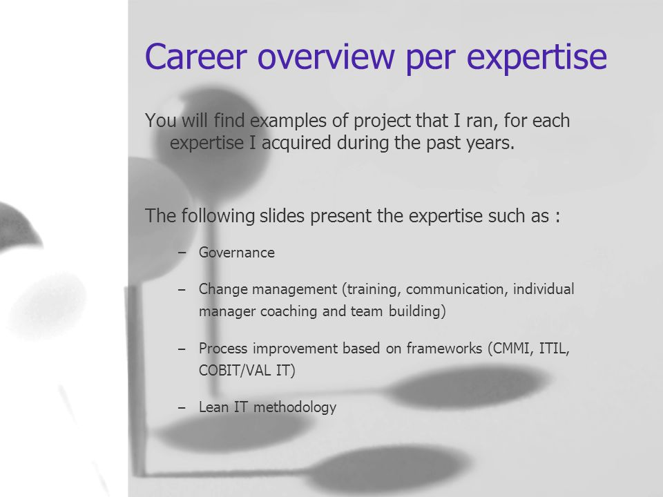 Career overview per expertise You will find examples of project that I ran, for each expertise I acquired during the past years.