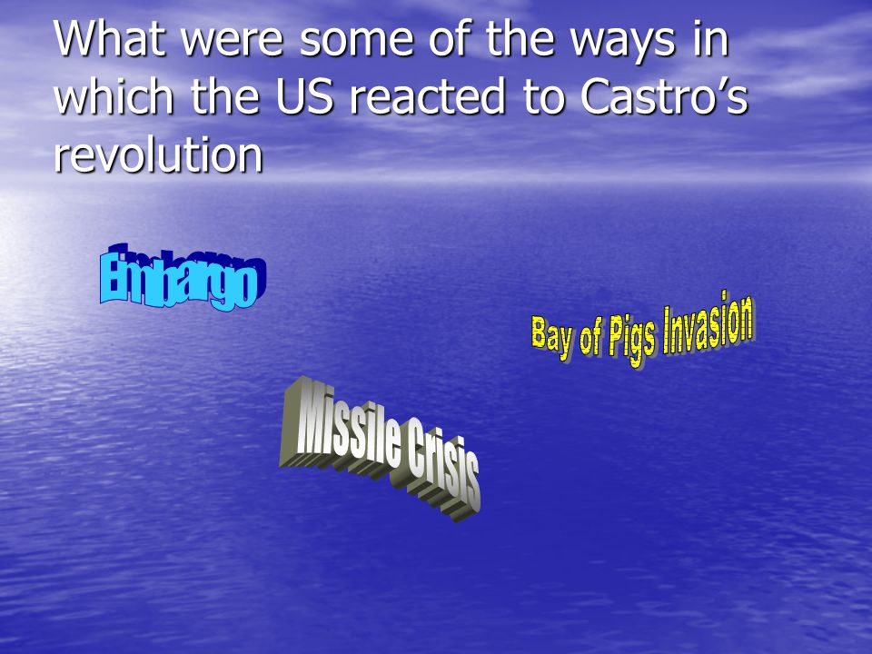 What were some of the ways in which the US reacted to Castros revolution