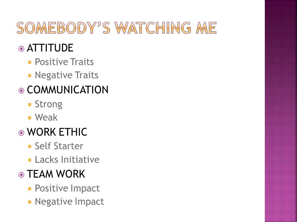 ATTITUDE Positive Traits Negative Traits COMMUNICATION Strong Weak WORK ETHIC Self Starter Lacks Initiative TEAM WORK Positive Impact Negative Impact