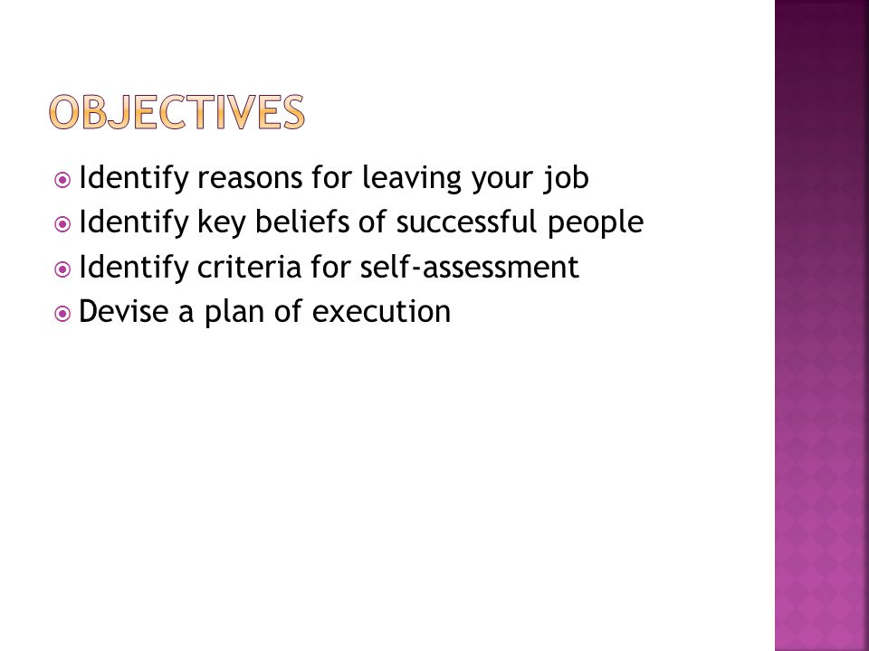 Identify reasons for leaving your job Identify key beliefs of successful people Identify criteria for self-assessment Devise a plan of execution