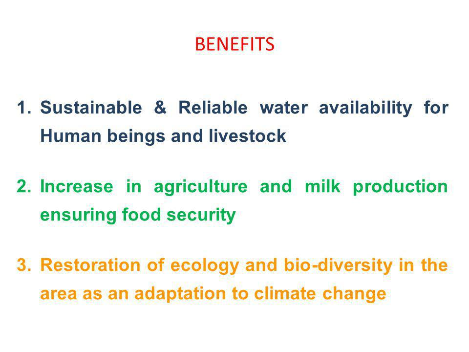 BENEFITS 1.Sustainable & Reliable water availability for Human beings and livestock 2.Increase in agriculture and milk production ensuring food securi