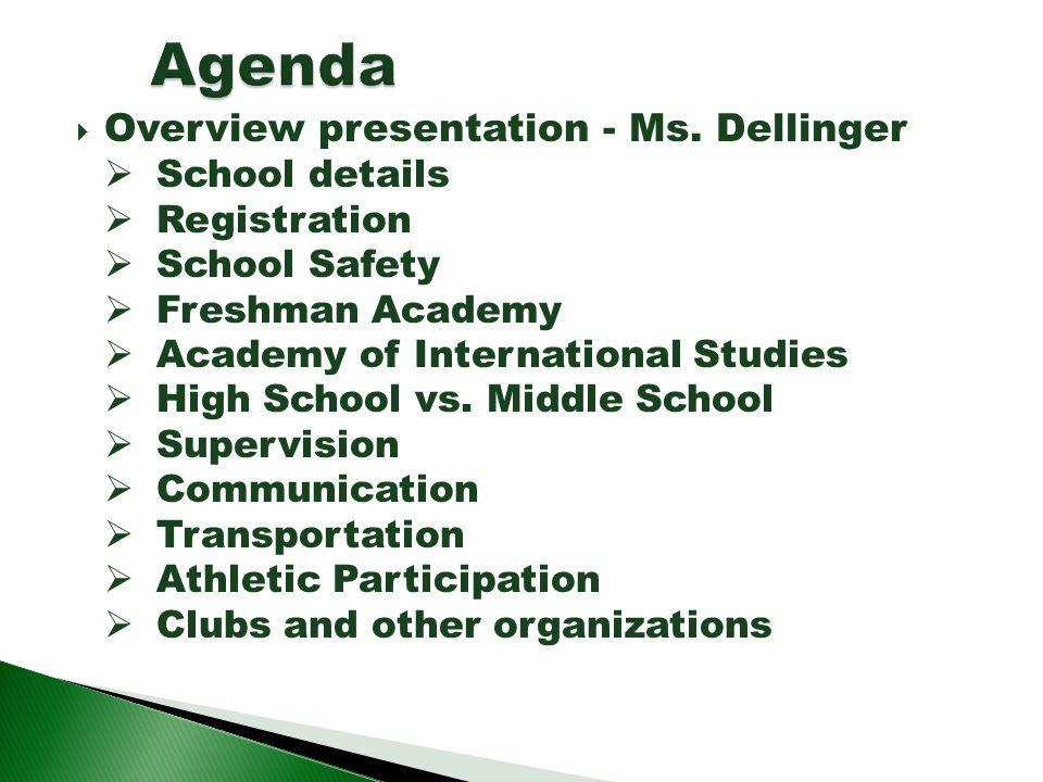 Overview presentation - Ms. Dellinger School details Registration School Safety Freshman Academy Academy of International Studies High School vs. Midd