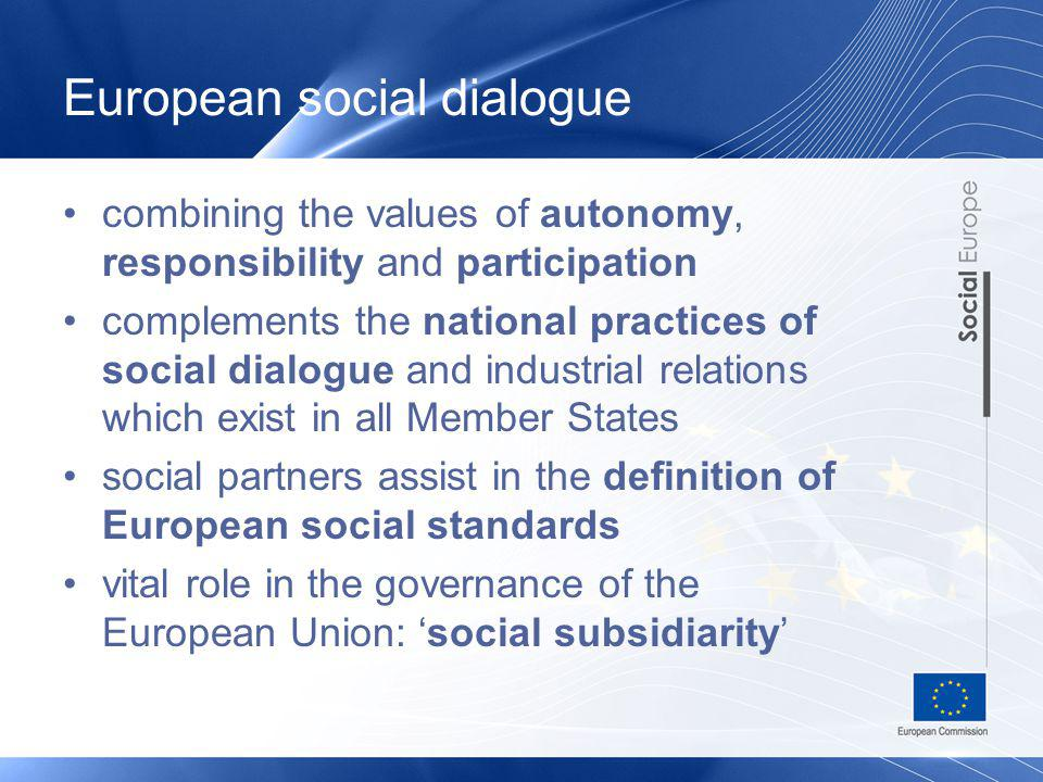 European social dialogue combining the values of autonomy, responsibility and participation complements the national practices of social dialogue and