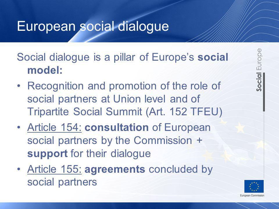 European social dialogue Social dialogue is a pillar of Europes social model: Recognition and promotion of the role of social partners at Union level