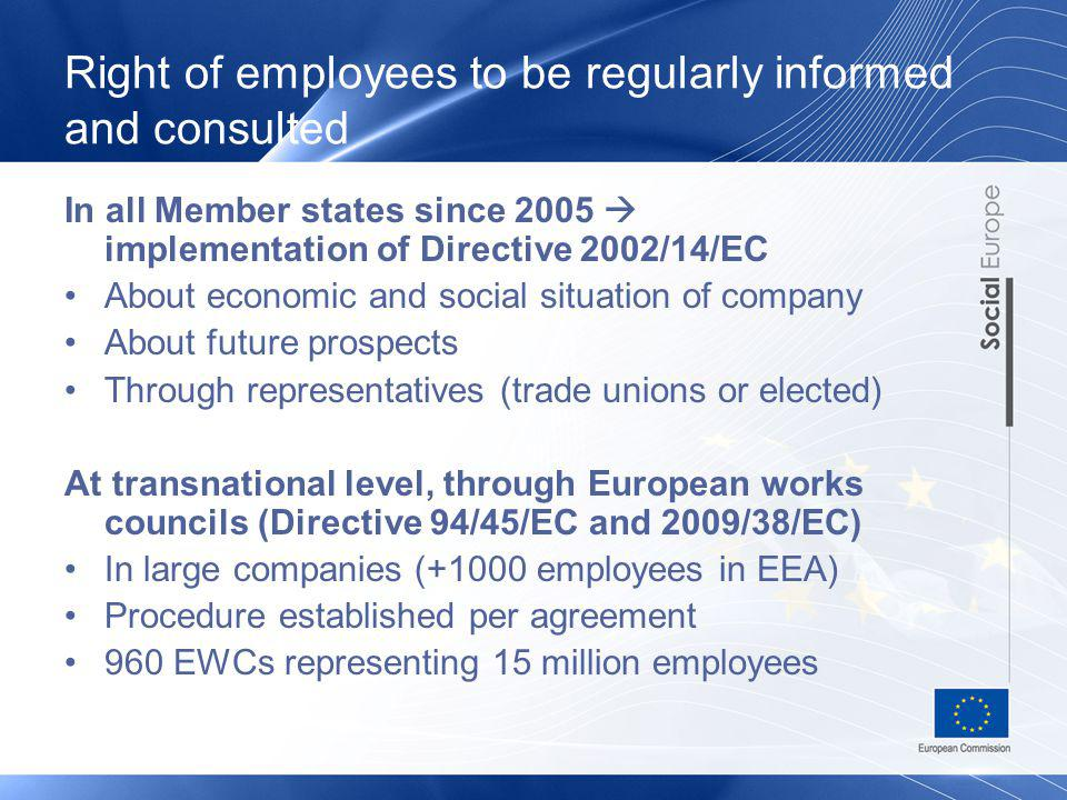 Right of employees to be regularly informed and consulted In all Member states since 2005 implementation of Directive 2002/14/EC About economic and social situation of company About future prospects Through representatives (trade unions or elected) At transnational level, through European works councils (Directive 94/45/EC and 2009/38/EC) In large companies (+1000 employees in EEA) Procedure established per agreement 960 EWCs representing 15 million employees