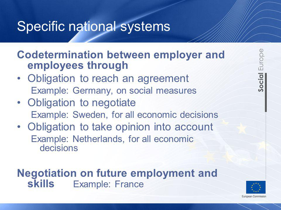 Specific national systems Codetermination between employer and employees through Obligation to reach an agreement Example: Germany, on social measures