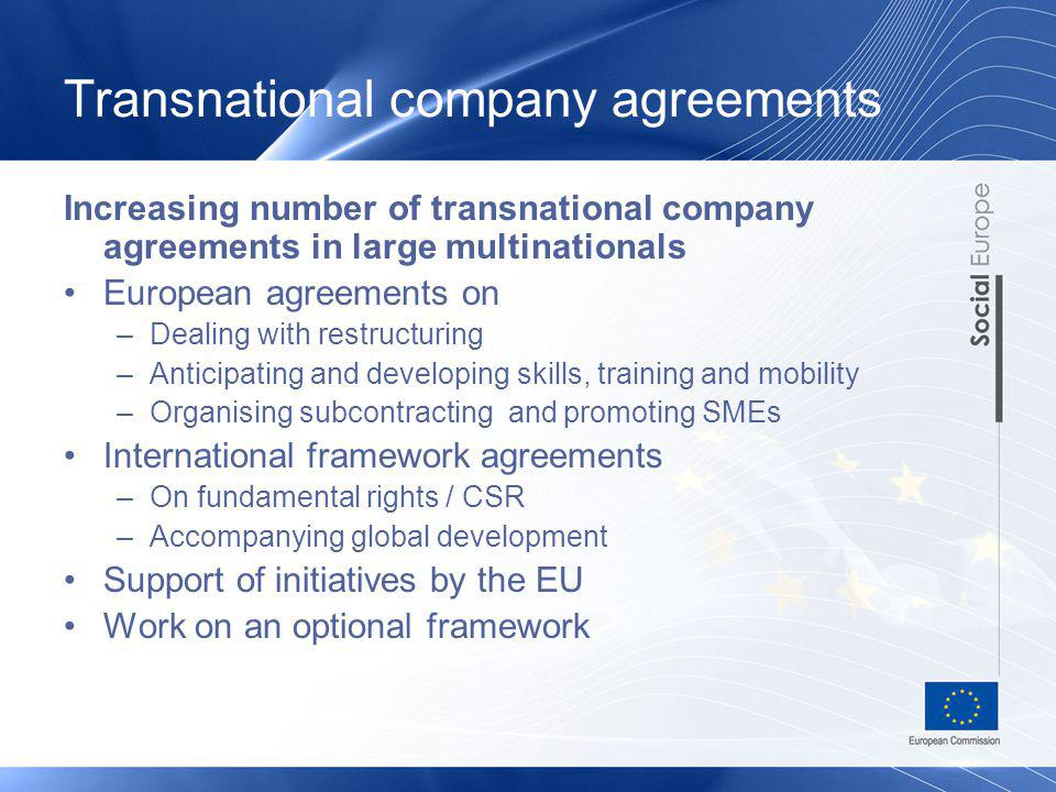 Transnational company agreements Increasing number of transnational company agreements in large multinationals European agreements on –Dealing with re