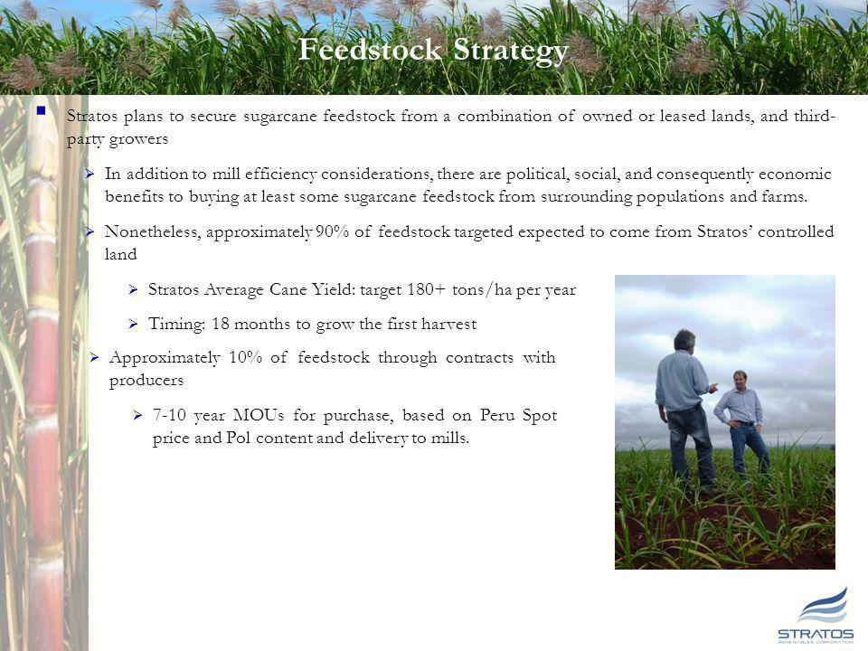18 Feedstock Strategy Stratos plans to secure sugarcane feedstock from a combination of owned or leased lands, and third- party growers In addition to