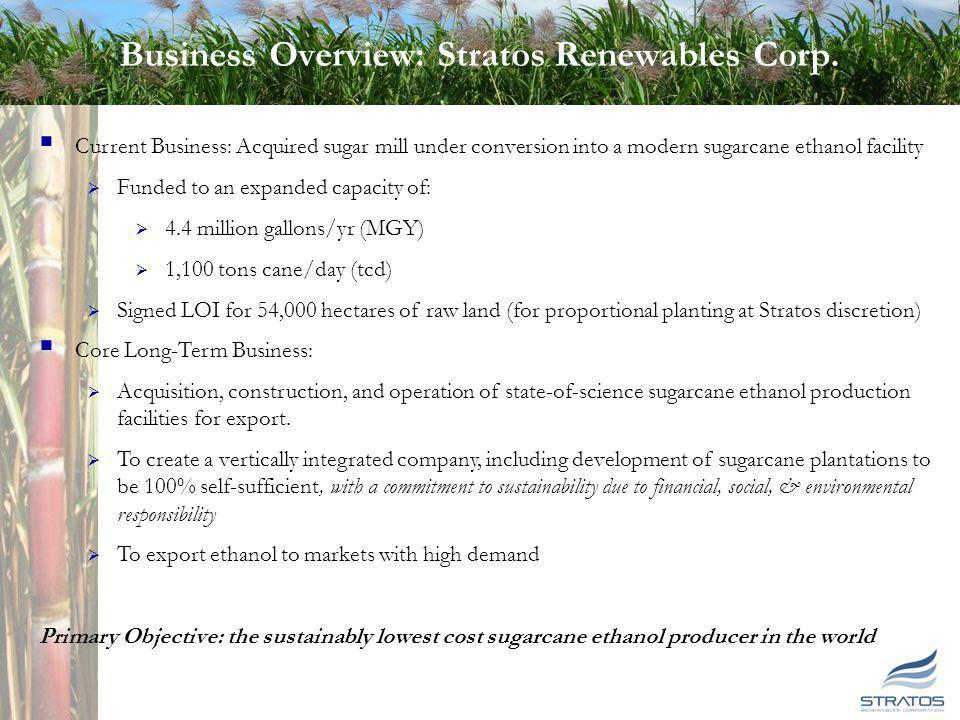 3 3 Business Overview: Stratos Renewables Corp. Current Business: Acquired sugar mill under conversion into a modern sugarcane ethanol facility Funded