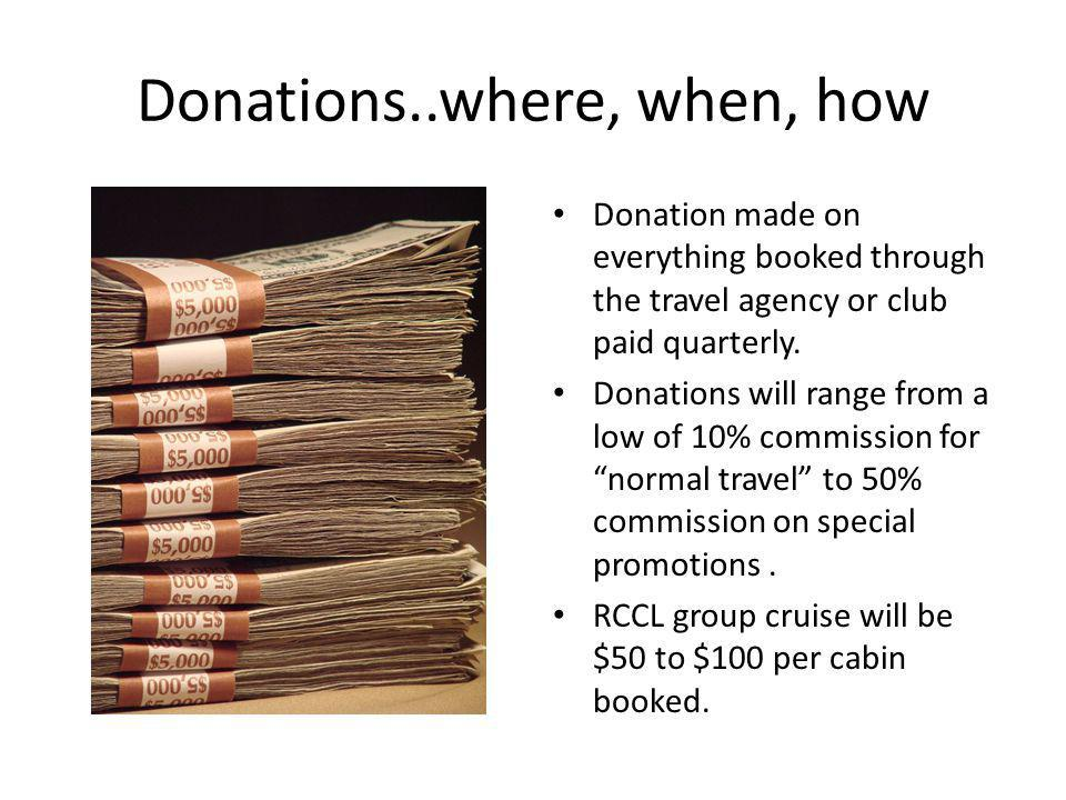 Donations..where, when, how Donation made on everything booked through the travel agency or club paid quarterly.