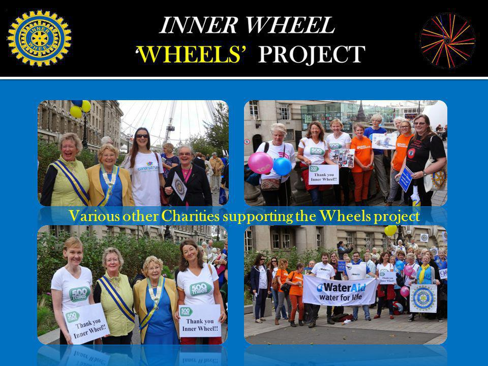 Various other Charities supporting the Wheels project