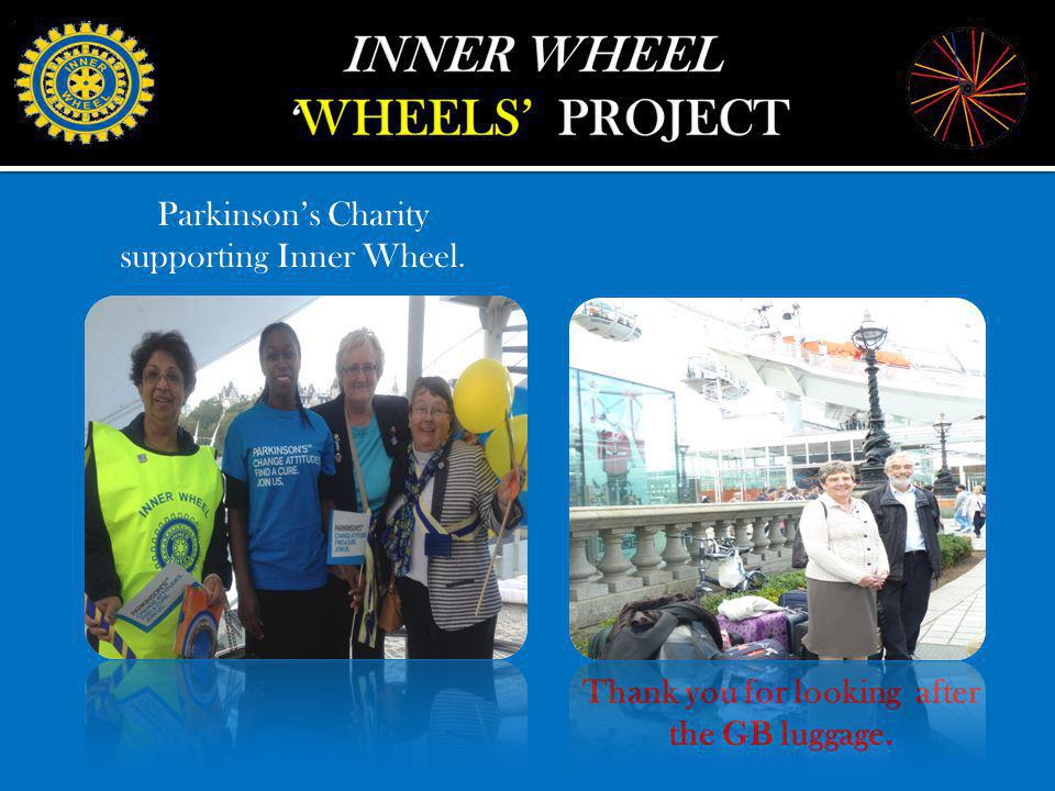 Thank you for looking after the GB luggage. Parkinsons Charity supporting Inner Wheel.