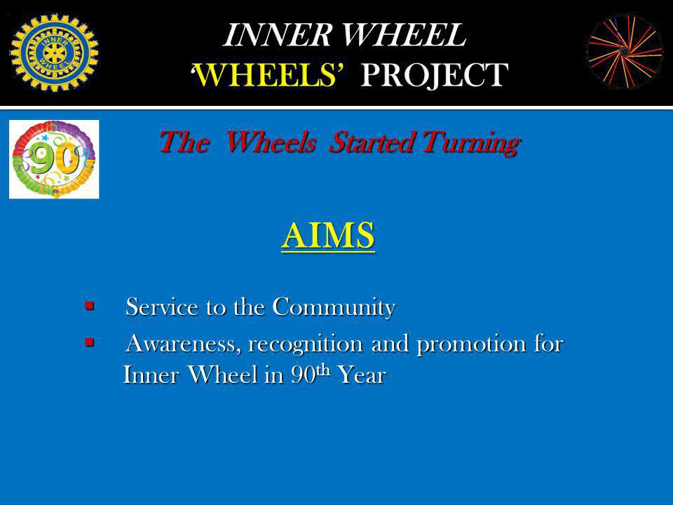 AIMS AIMS The Wheels Started Turning Service Service to the Community Awareness, Awareness, recognition and promotion for Inner Wheel in 90 th 90 th Year