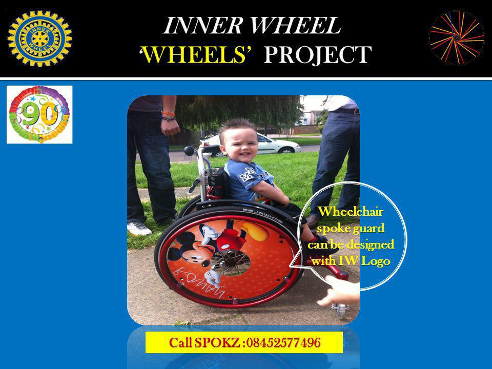 Wheelchair spoke guard can be designed with IW Logo Call SPOKZ :08452577496