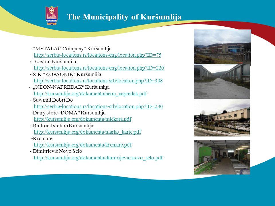 The Municipality of Kuršumlija - METALAC Company Kuršumlija http://serbia-locations.rs/locations-eng/location.php?ID=75 - Kastrat Kuršumlija http://se