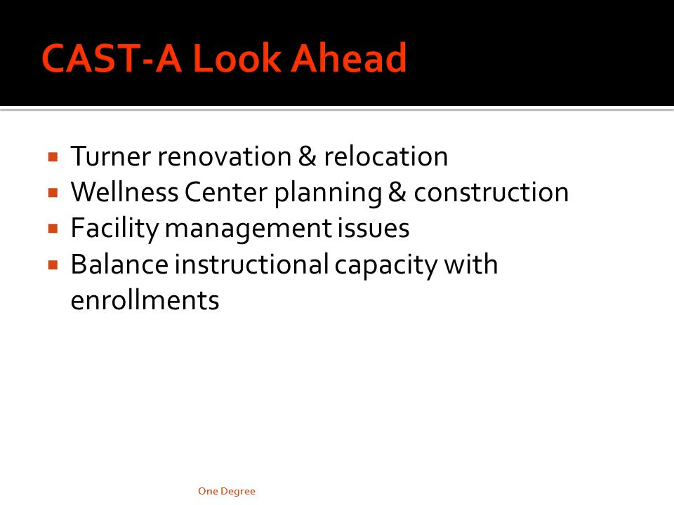 Turner renovation & relocation Wellness Center planning & construction Facility management issues Balance instructional capacity with enrollments One Degree