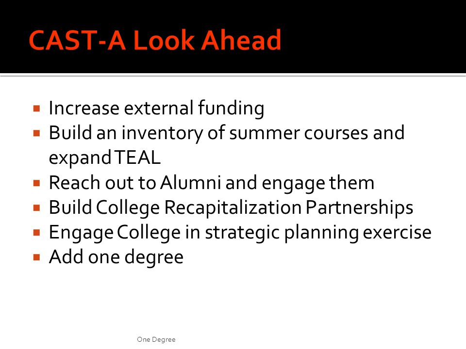 Increase external funding Build an inventory of summer courses and expand TEAL Reach out to Alumni and engage them Build College Recapitalization Partnerships Engage College in strategic planning exercise Add one degree One Degree